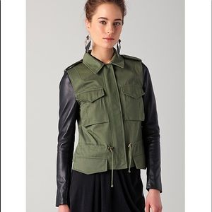 VEDA Jasper Jacket with Leather Sleeves Size P